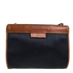 Salvatore Ferragamo Black/Brown Textured Leather Vintage Shoulder Bag