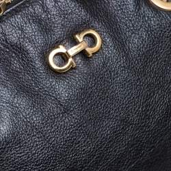 Salvatore Ferragamo Black Leather Fanya Chain Tote