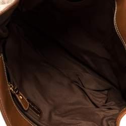 Salvatore Ferragamo Beige/Tan Canvas and Leather Tote