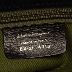 Salvatore Ferragamo Black Monogram Velvet and Leather Satchel