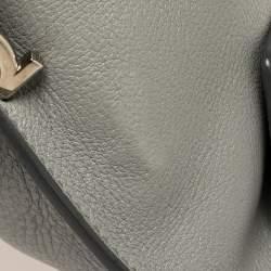Salvatore Ferragamo Grey Leather Small Sofia Top Handle Bag