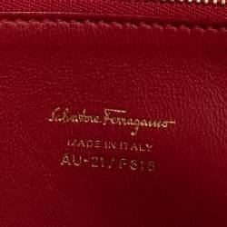 Salvatore Ferragamo Red Leather Large Mara Satchel