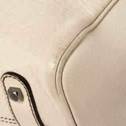 Salvatore Ferragamo Cream Leather Gancio Zip Satchel