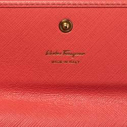 Salvatore Ferragamo Coral Red Leather Gancini Continental Wallet