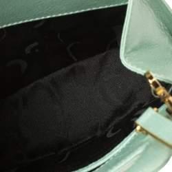 Salvatore Ferragamo Mint Green Leather Double Gancini Lock Tote