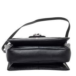 Salvatore Ferragamo Black Leather Katia Top Handle Bag