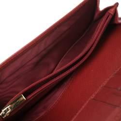Salvatore Ferragamo Red Leather Vara Bow Wallet