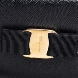 Salvatore Ferragamo Black Leather Vara Bow Compact Wallet