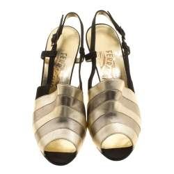 Salvatore Ferragamo Metallic Striped Leather Peep Toe Sandals Size 38.5