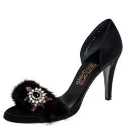 Salvatore Ferragamo Black Crystal Embellished Fur and Satin Open Toe Sandals Size 38.5