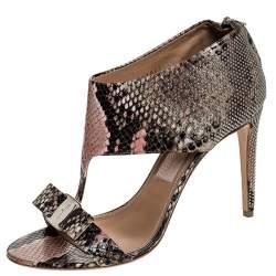 Salvatore Ferragamo Multicolor Python Studded Pellas T Strap Sandals Size 40.5