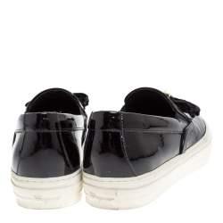 Salvatore Ferragamo Black Patent Leather Bow Slip On Sneakers Size 36.5