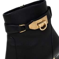 Salvatore Ferragamo Black Leather Gancini Lock Ankle Boots Size 38.5