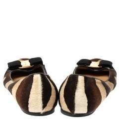 Salvatore Ferragamo Multicolor Calf Hair Varina Bow Ballet Flats Size 38.5