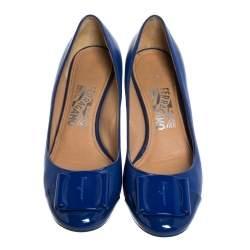 Salvatore Ferragamo Blue Leather And Patent 'Petra' Wedge Cap Toe Pumps Size 37