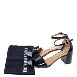 Salvatore Ferragamo Black Patent Vara Bow Ankle Strap Sandals Size 37