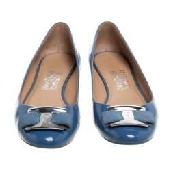 Salvatore Ferragamo Blue Patent Leather Ninna Kangaroo Bow Ballet Flats Size 38.5