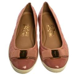 Salvatore Ferragamo Pink Quilted Leather And Patent Rufina Vara Bow Ballet Flats Size 37.5