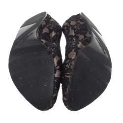 Salvatore Ferragamo Black Lace My Joy Bow Scrunch Ballet Flats Size 38