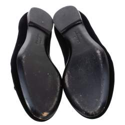 Salvatore Ferragamo Black Velvet Bow Detail Smoking Slippers Size 37.5