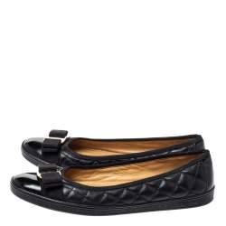 Salvatore Ferragamo Black Quilted Leather Varina Ballet Flats Size 37