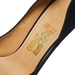 Salvatore Ferragamo Black Suede Rosella Bow Peep Toe Platform Pumps Size 39.5
