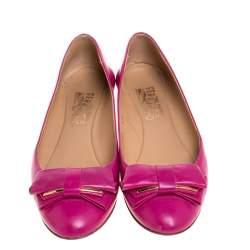Salvatore Ferragamo Pink Leather Bow Ballet Flats Size 36.5