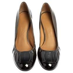 Salvatore Ferragamo Two Tone Patent Leather Wedge Pumps Size 38