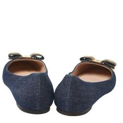 Salvatore Ferragamo Blue/Gold Denim Fabric Studded Vara Bow Cap Toe Ballet Flats Size 38.5