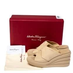 Salvatore Ferragamo Beige Nubuck Galatea Wedges Size 38.5