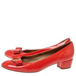 Salvatore Ferragamo Orange Patent Leather Elinda Block Heel Bow Pumps Size 39