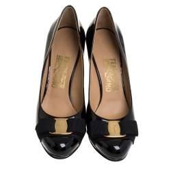 Salvatore Ferragamo Black Patent Leather Vara Bow Round Toe Pumps Size 36.5