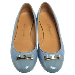 Salvatore Ferragamo Blue Quilted Leather Bow Ballet Flats Size 38