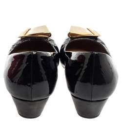 Salvatore Ferragamo Black Patent Leather Tilda Wedge Pumps Size 39.5