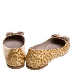 Salvatore Ferragamo Cream Animal Print Patent Leather Varina Ballet Flats Size 40.5