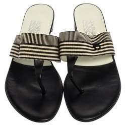 Salvatore Ferragamo Monochrome Fabric Sarcelle Thong Sandals Size 41