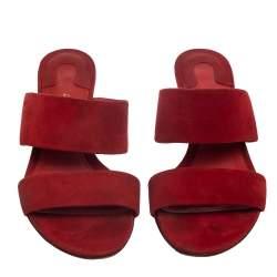 Salvatore Ferragamo Red Suede Belluno Flower Slide Sandals Size 37