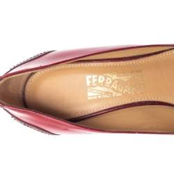 Salvatore Ferragamo Red Leather Ninna Bow Block Heel Pumps Size 38.5