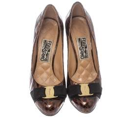 Salvatore Ferragamo Brown Animal Print Quilted Patent Leather Vara Bow Pumps Size 36.5