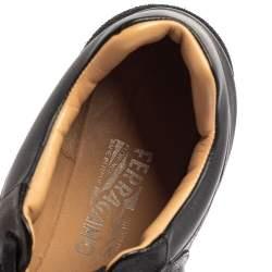Salvatore Ferragamo Black Leather Low Top Sneakers Size 37.5