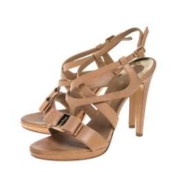 Salvatore Ferragamo Beige Leather Brise Ankle Strap Sandals Size 38.5