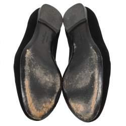 Salvatore Ferragamo Black Velvet Bow Detail Smoking Slippers Size 37.5