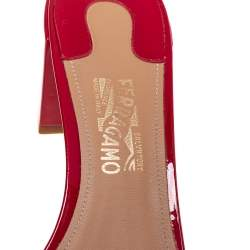 Salvatore Ferragamo Red Patent Eolie Vara Bow Slide Sandals Size 39