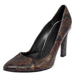 Salvatore Ferragamo Brown Python Embossed Leather Pumps Size 39