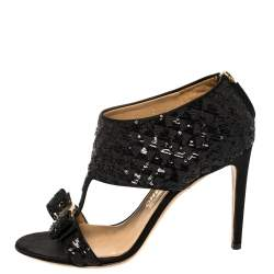 Salvatore Ferragamo Black Sequins And Satin Vara Bow Ankle Strap Sandals Size 38.5