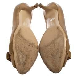 Salvatore Ferragamo Gold Leather Vara Bow Peep Toe Pumps Size 39