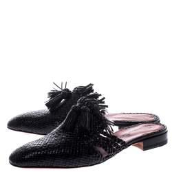 Santoni Black Woven Leather Fringe Detail Flat Mules Size 38