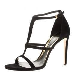 Sebastian Black Suede Strappy Open Toe Sandals Size 40