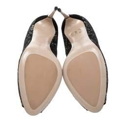 Sebastian Black Lace and Silver Glitter Peep Toe Pumps Size 37