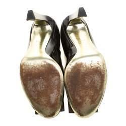 Sebastian Black Patent Leather Crystal Embellished Pumps Size 38.5